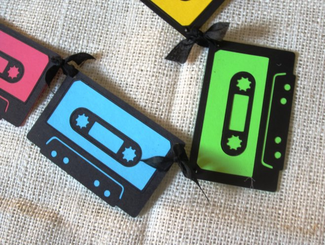 Neon Mix Tape Banner 80s Cassette Birthday Decoration http://tinyurl.com/kulentf